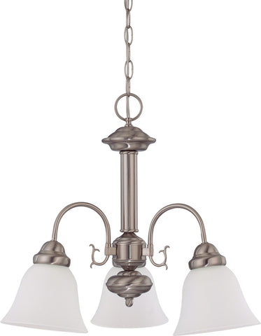 Nuvo 60-3291 - Chandelier in Brushed Nickel Finish with Frosted White Glass