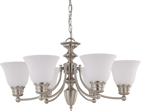 Nuvo 60-3305 - Chandelier in Brushed Nickel Finish with Frosted White Glass