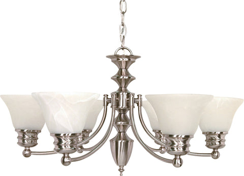 Nuvo 60-356 - 6-Lights Brushed Nickel Chandelier with Alabaster Bell Shades