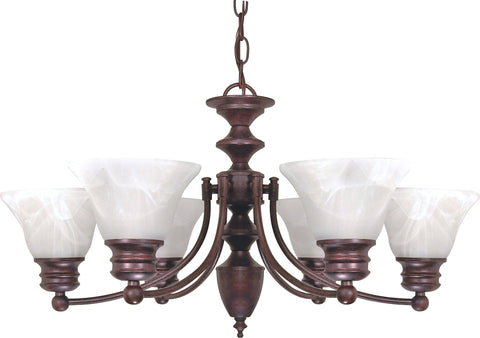 Nuvo 60-358 - 6-Lights Old Bronze Chandelier with Alabaster Bell Shades