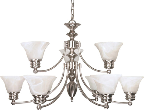 Nuvo 60-360 - 2-Tier 9-Lights Brushed Nickel Chandelier