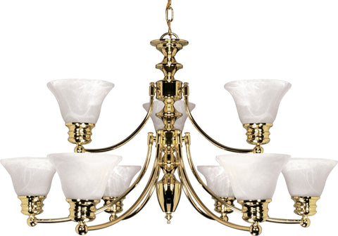 Nuvo 60-361 - 2-Tier 9-Lights Polished Brass Chandelier