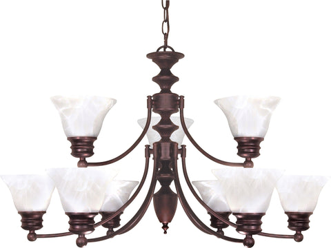 Nuvo 60-362 - 2-Tier 9-Lights Old Bronze Chandelier with Alabaster Bell Shades