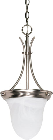 Nuvo 60-394 - Bell Pendant Light in Brushed Nickel Finish with Alabaster Glass