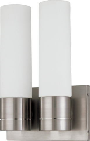 Nuvo 60-3957 - Twin Tube Wall Sconce in Brushed Nickel Finish with White Glass