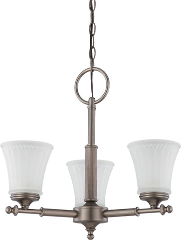 Nuvo 60-4016 - Small Chandelier in Aged Pewter Finish with Frosted Etched Glass