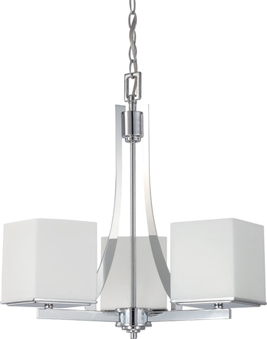 Nuvo 60-4085 - Chandelier in Polished Chrome Finish with White Satin Glass