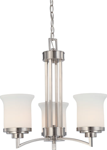 Nuvo 60-4104 - Chandelier in Brushed Nickel Finish with White Satin Glass