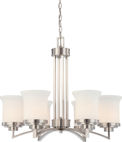 Nuvo 60-4105 - Chandelier in Brushed Nickel Finish with White Satin Glass