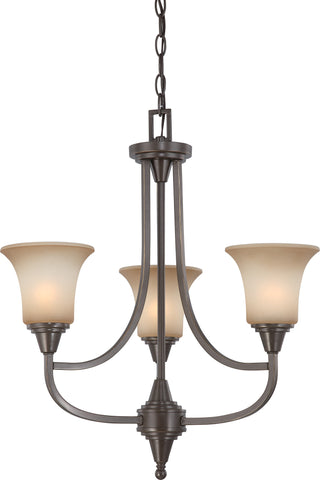 Nuvo 60-4165 - Chandelier in Vintage Bronze Finish with Auburn Beige Glass