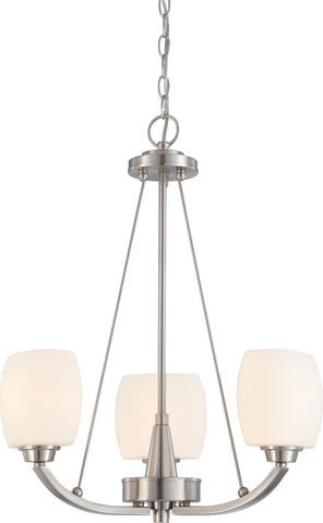 Nuvo 60-4185 - Chandelier in Brushed Nickel Finish with White Satin Glass
