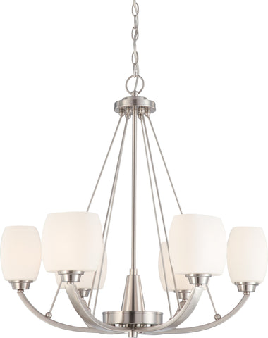 Nuvo 60-4186 - Chandelier in Brushed Nickel Finish with White Satin Glass