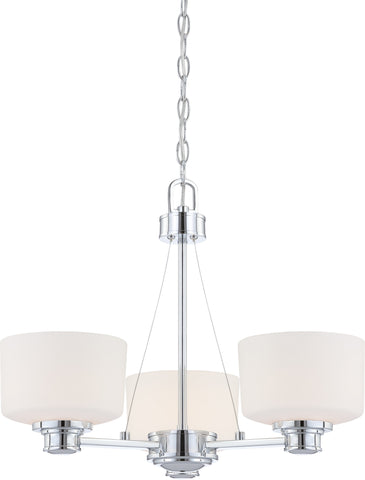 Nuvo 60-4587 - Chandelier in Polished Chrome Finish with White Satin Glass