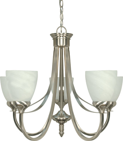 Nuvo 60-460 - 5-Lights Brushed Nickel Chandelier with Alabaster Glass