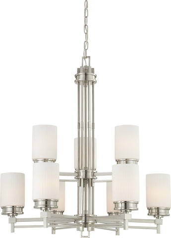 Nuvo 60-4709 - 9-Lights Brushed Nickel Chandelier with White Satin Glass
