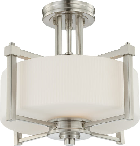 Nuvo 60-4713 - Semi Flush Mount Ceiling Light in Brushed Nickel Finish