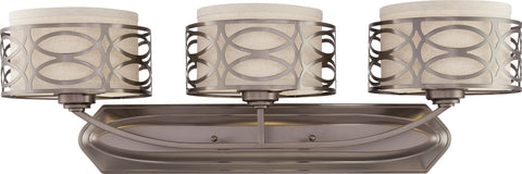 Nuvo 60-4723 - Vanity Light Fixture with Khaki Fabric Shades/Cream Diffuser