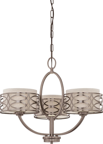 Nuvo 60-4724 - Hazel Bronze Chandelier with Khaki Fabric Shades/Cream Diffuser