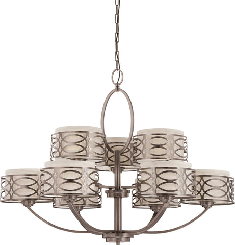 Nuvo 60-4730 - Hazel Bronze Chandelier with Khaki Fabric Shades/Cream Diffuser