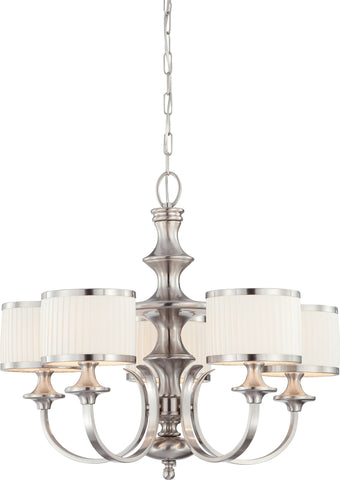 Nuvo 60-4735 - 5-Lights Brushed Nickel Chandelier with White Pleated Shade