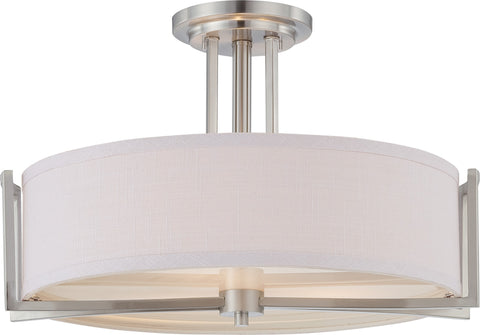 Nuvo 60-4758 - Semi Flush Mount Ceiling Light Fixture in Brushed Nickel Finish