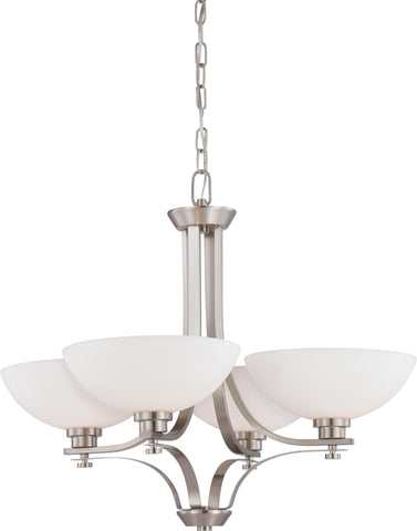 Nuvo 60-5014 - 4-Lights Brushed Nickel Chandelier with Frosted Glass