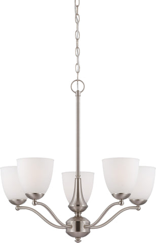 Nuvo 60-5035 - 5-Lights Brushed Nickel Chandelier with Frosted Glass