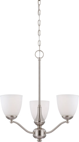 Nuvo 60-5036 - 3-Lights Brushed Nickel Chandelier with Frosted Glass