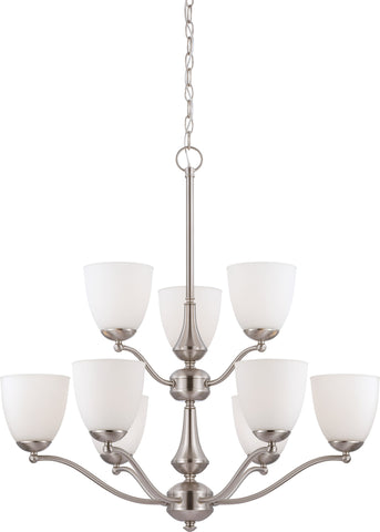 Nuvo 60-5039 - 9-Lights 2-Tier Brushed Nickel Chandelier with Frosted Glass