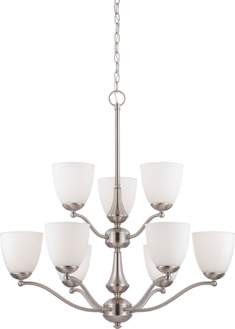Nuvo 60-5059 - 9-Light Chandelier in Brushed Nickel Finish and Frosted Glass