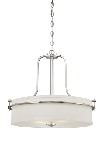 Nuvo 60-5108 - Drum Pendant Light in Polished Nickel Finish