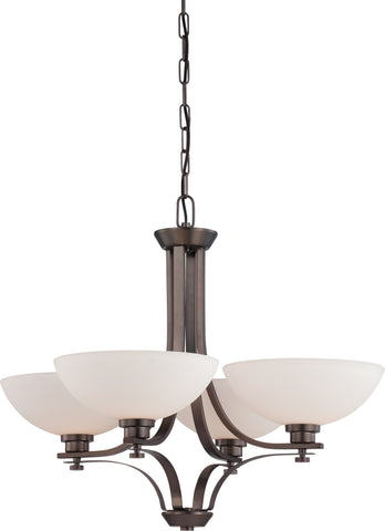 Nuvo 60-5114 - 4-Lights Hazel Bronze Chandelier with Frosted Glass