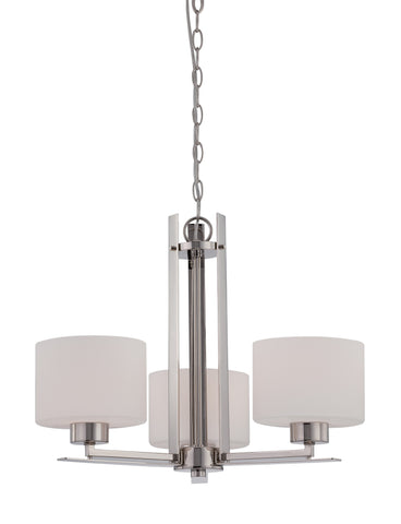 Nuvo 60-5206 - 3-Lights Polished Nickel Chandelier with Etched Opal Glass