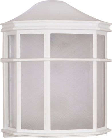 Nuvo 60-581 - 1-Light Cage Wall Lantern in White Finish with Linen Acrylic Lens