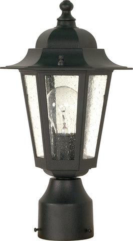 Nuvo 60-996 - Outdoor Post Lantern in Textured Black with Clear Seeded Glass