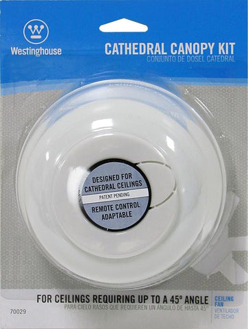 45 Degree White Cathedral Ceiling Fan Canopy Kit