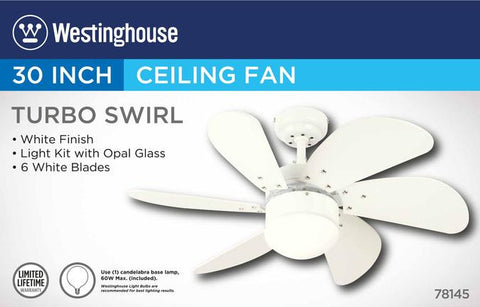 Turbo Swirl 30 Inch Six Blade Indoor Ceiling Fan