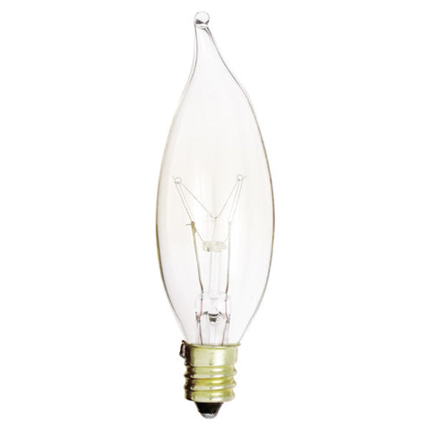 15 watt CA8 Incandescent, Clear, 2500 average rated hours, 95 lumens, Candelabra base, 130 volts - Lighting Supply Group