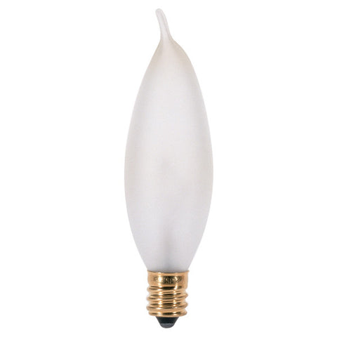 15 watt CA8 Incandescent, Frost, 2500 average rated hours, 90 lumens, Candelabra base, 130 volts - Lighting Supply Group