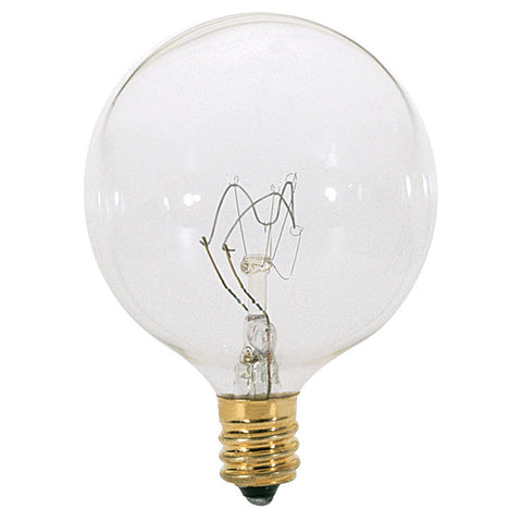 15 watt G16 1/2 Incandescent, Clear, 2500 average rated hours, 98 lumens, Candelabra base, 130 volts - Lighting Supply Group