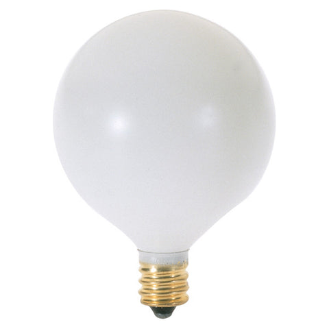 15 watt G16 1/2 Incandescent, Satin White, 2500 average rated hours, 83 lumens, Candelabra base, 130 volts - Lighting Supply Group