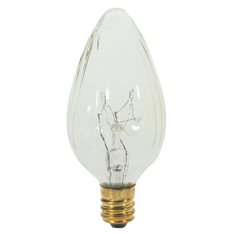 15 watt F10 Incandescent, Clear, 1500 average rated hours, 110 lumens, Candelabra base, 120 volts, 2/Card - Lighting Supply Group