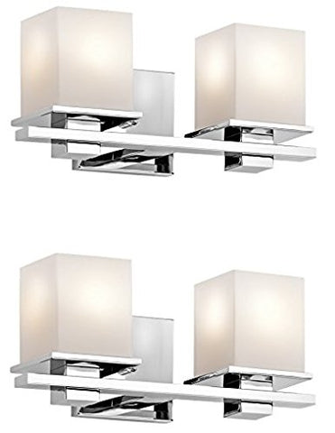 Kichler 45150CH Tully 2-Light Vanity Fixture and Satin Etched Cased Opal Glass (Chrome Finish - 2 Pack)