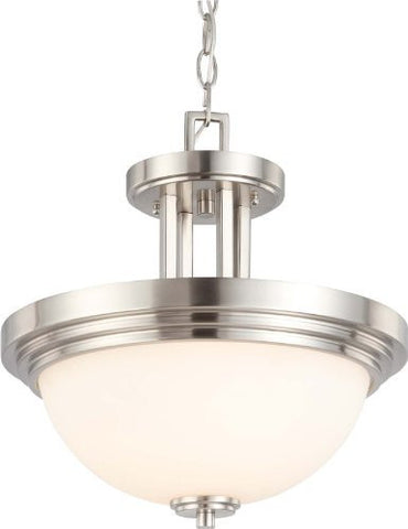 Harmony - 2 Light Semi Flush Fixture w/ Satin White Glass