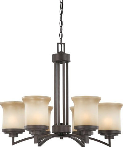 Harmony - 6 Light Chandelier w/ Saffron Glass