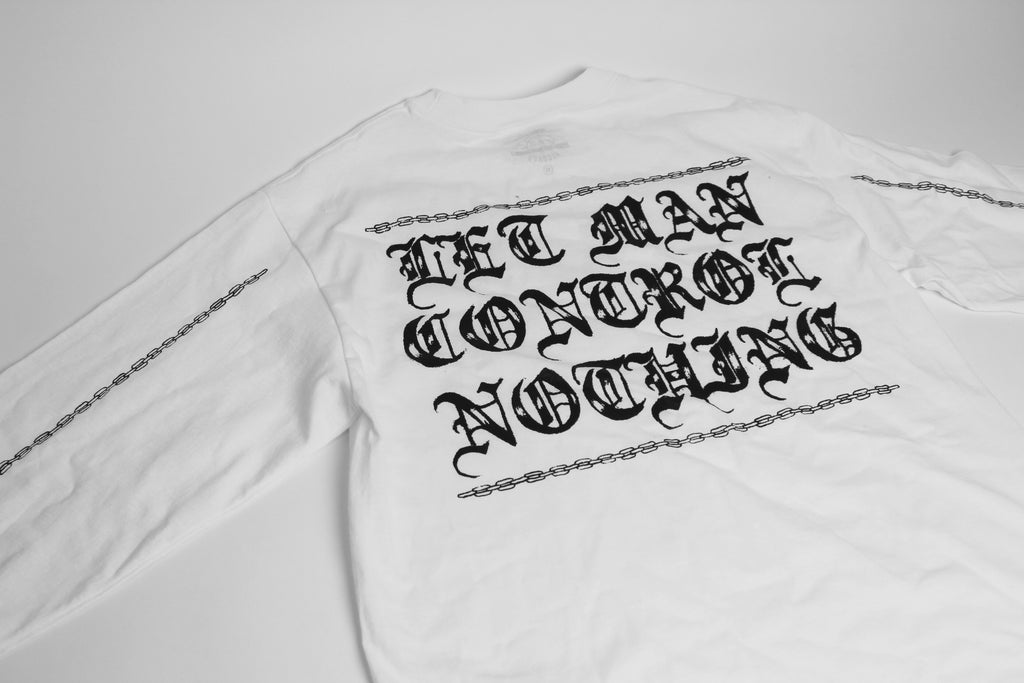 L.I.E.S. Records - Let Man Control Nothing In Chains - White long sleeve