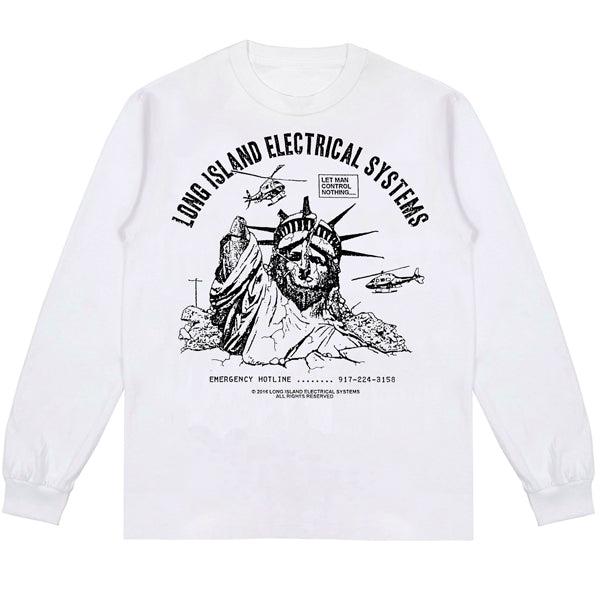 L.I.E.S. Records - Let Man Control L/S Tee - White