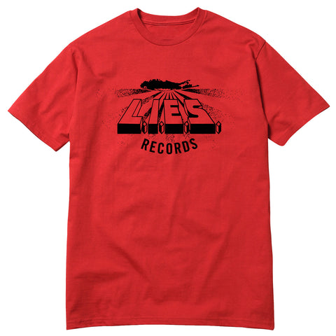 L.I.E.S. Records - Logo Tee - Red with Black