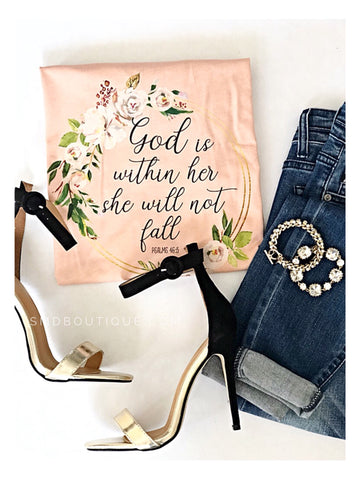 God Is Within Her - Peach