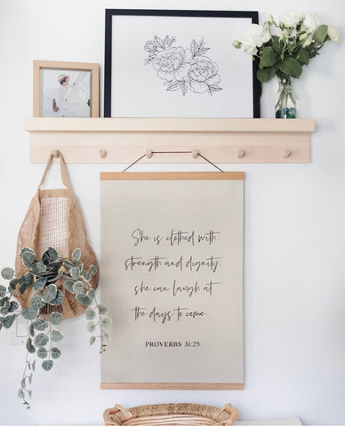 She is clothed with strength and dignity poster